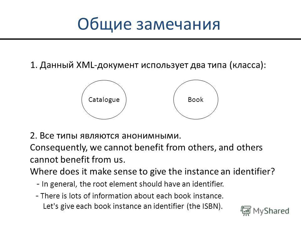 Общие замечания 1. Данный XML-документ использует два типа (класса): Catalogue Book 2. Все типы являются анонимными. Consequently, we cannot benefit from others, and others cannot benefit from us. Where does it make sense to give the instance an iden