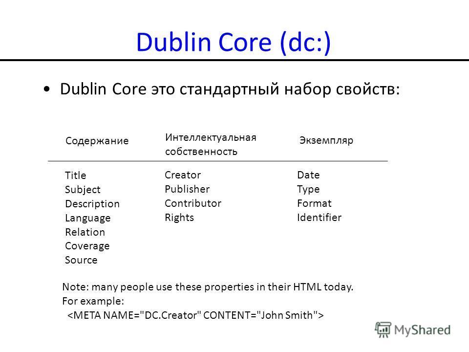 Dublin Core (dc:) Dublin Core это стандартный набор свойств: Содержание Интеллектуальная собственность Экземпляр Title Subject Description Language Relation Coverage Source Creator Publisher Contributor Rights Date Type Format Identifier Note: many p