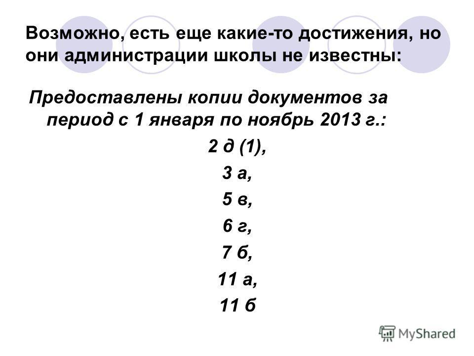 Возможно, есть еще какие-то достижения, но они администрации школы не известны: Предоставлены копии документов за период с 1 января по ноябрь 2013 г.: 2 д (1), 3 а, 5 в, 6 г, 7 б, 11 а, 11 б