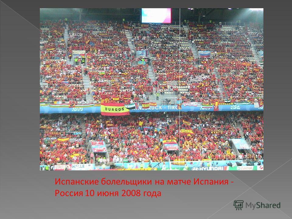Испанские болельщики на матче Испания - Россия 10 июня 2008 года