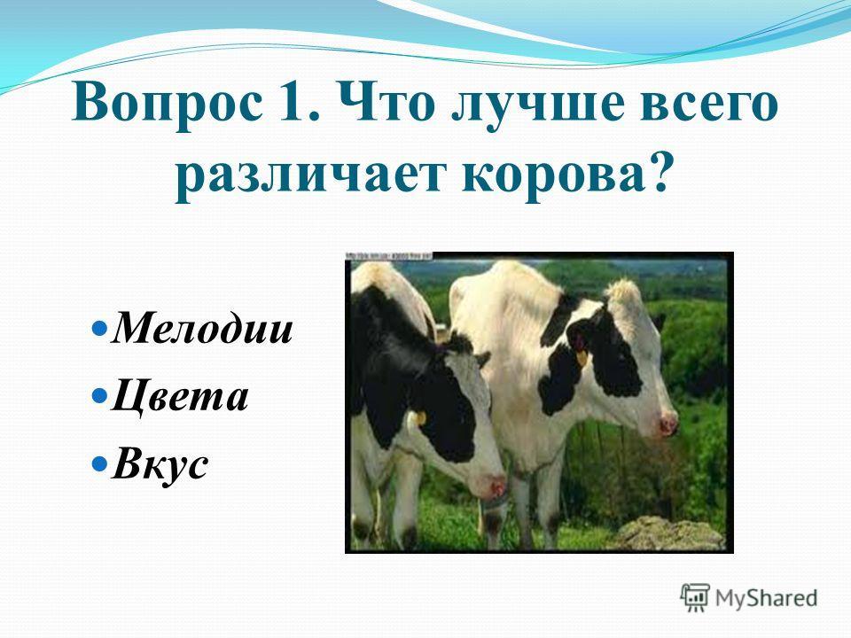 Вопрос 1. Что лучше всего различает корова? Мелодии Цвета Вкус