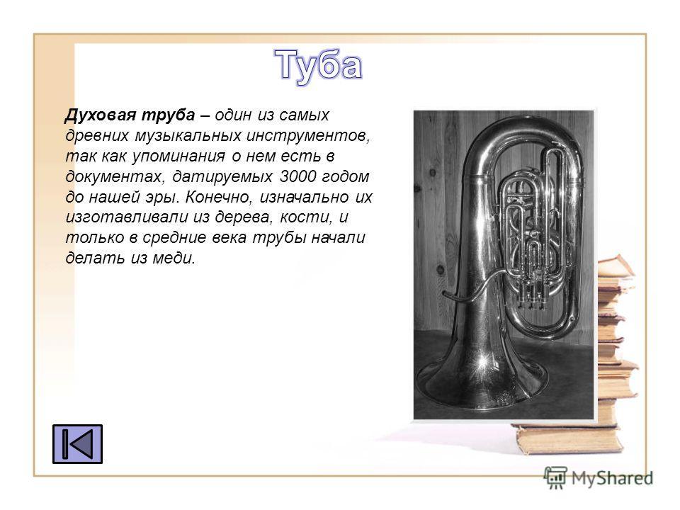 Духовая труба – один из самых древних музыкальных инструментов, так как упоминания о нем есть в документах, датируемых 3000 годом до нашей эры. Конечно, изначально их изгота вливали из дерева, кости, и только в средние века трубы начали делать из мед