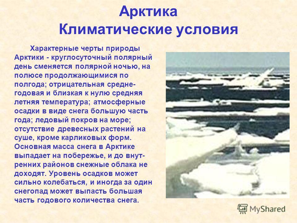 Арктика Климатические условия Характерные черты природы Арктики - круглосуточный полярный день сменяется полярной ночью, на полюсе продолжающимися по полгода; отрицательная средне- годовая и близкая к нулю средняя летняя температура; атмосферные осад