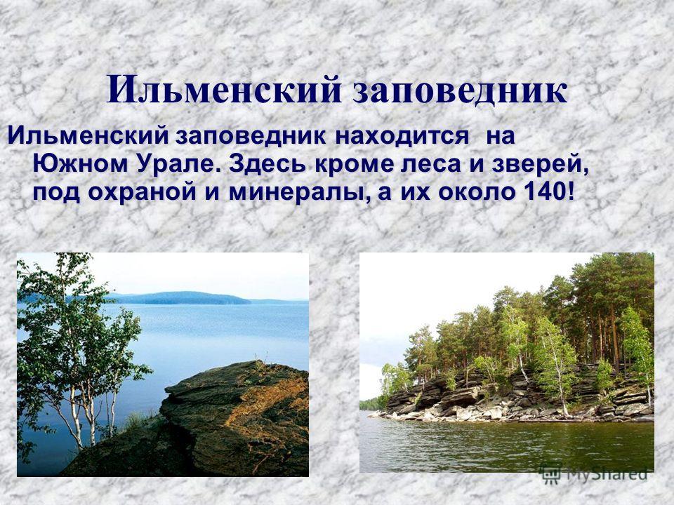 Ильменский заповедник Ильменский заповедник находится на Южном Урале. Здесь кроме леса и зверей, под охраной и минералы, а их около 140!