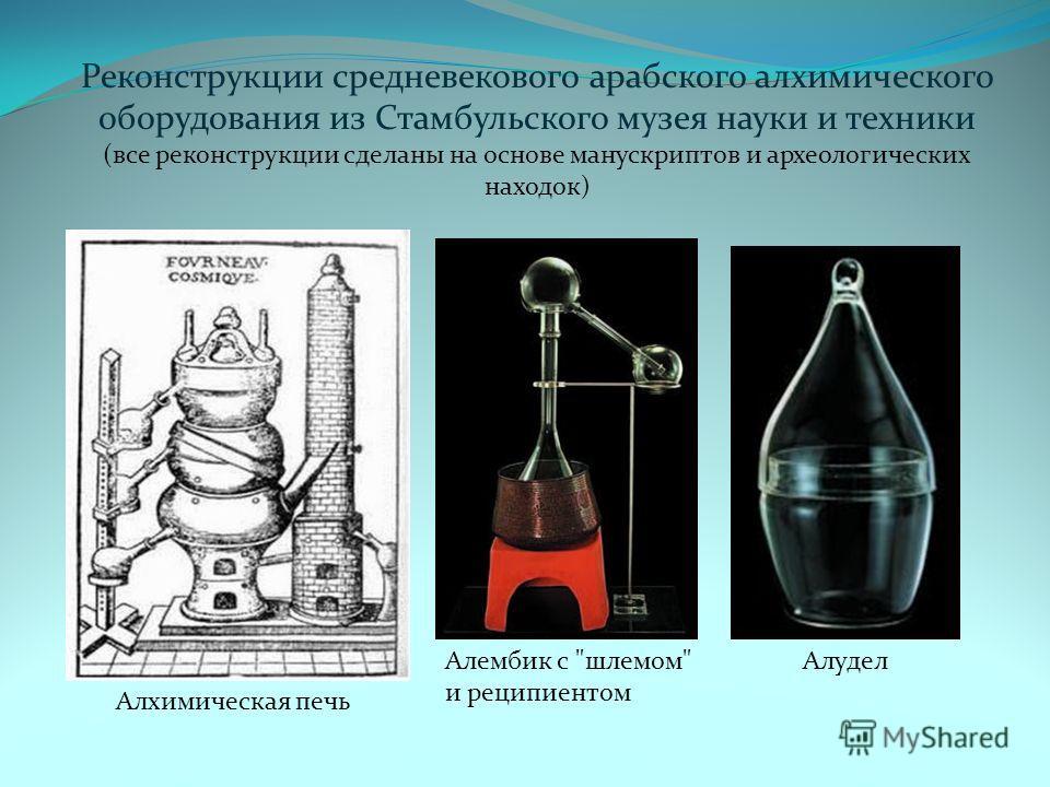 Реконструкции средневекового арабского алхимического оборудования из Стамбульского музея науки и техники (все реконструкции сделаны на основе манускриптов и археологических находок) Алхимическая печь Алембик с шлемом и реципиентом Алудел