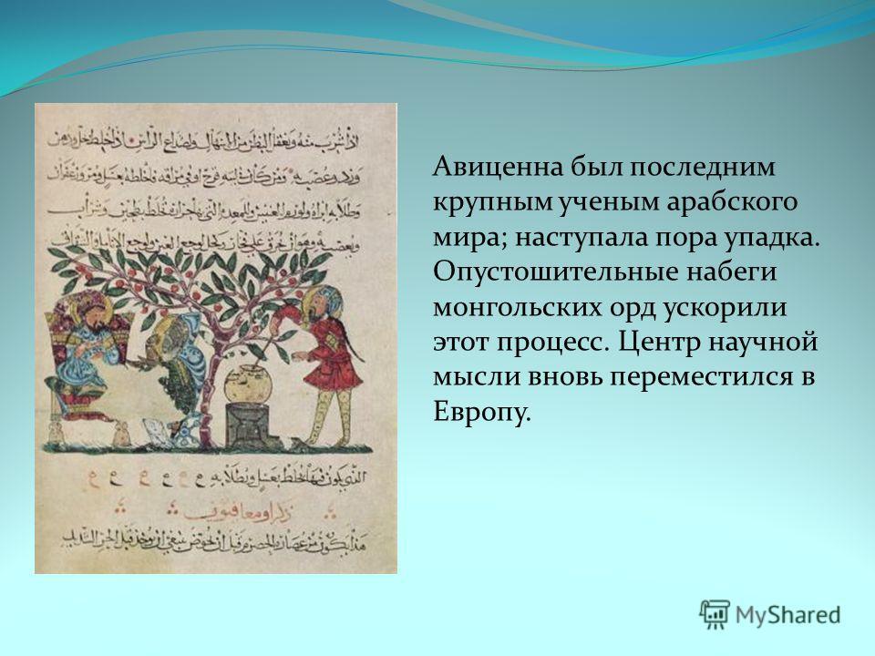 Авицена был последним крупным ученым арабского мира; наступала пора упадка. Опустошительные набеги монгольских орд ускорили этот процесс. Центр научной мысли вновь переместился в Европу.