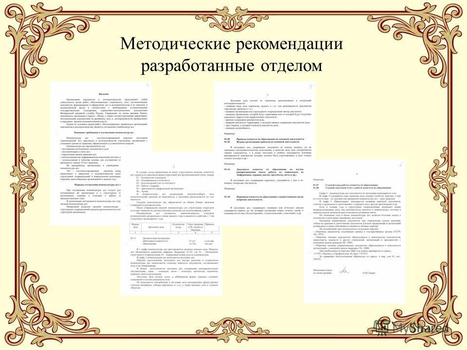Методические рекомендации разработанные отделом