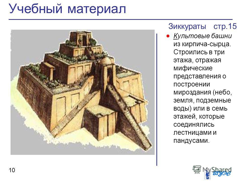 Зиккураты стр.15 Культовые башни из кирпича-сырца. Строились в три этажа, отражая мифические представления о построении мироздания (небо, земля, подземные воды) или в семь этажей, которые соединялись лестницами и пандусами. Учебный материал 10