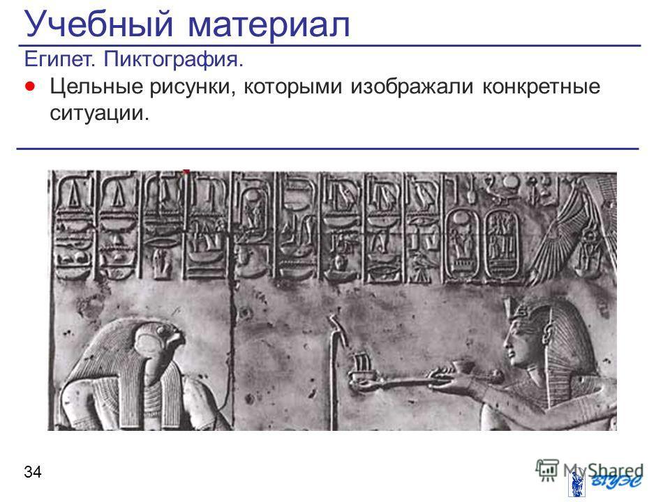Учебный материал Египет. Пиктография. Цельные рисунки, которыми изображали конкретные ситуации. 34