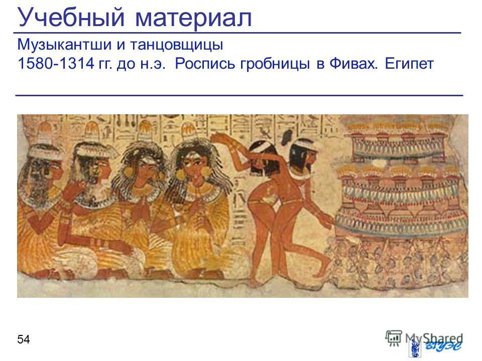 Учебный материал Музыкантши и танцовщицы 1580-1314 гг. до н.э. Роспись гробницы в Фивах. Египет 54