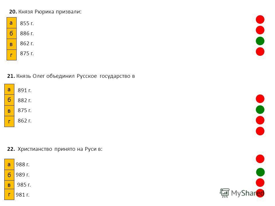 20. Князя Рюрика призвали: 855 г. 886 г. 862 г. 875 г. а б в г 21. Князь Олег объединил Русское государство в 891 г. 882 г. 875 г. 862 г. а в б г 22. Христианство принято на Руси в: 988 г. 989 г. 985 г. 981 г. в б а г