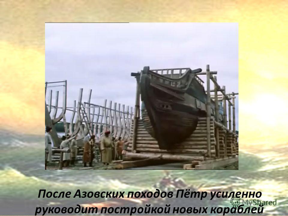 После Азовских походов Пётр усиленно руководит постройкой новых кораблей