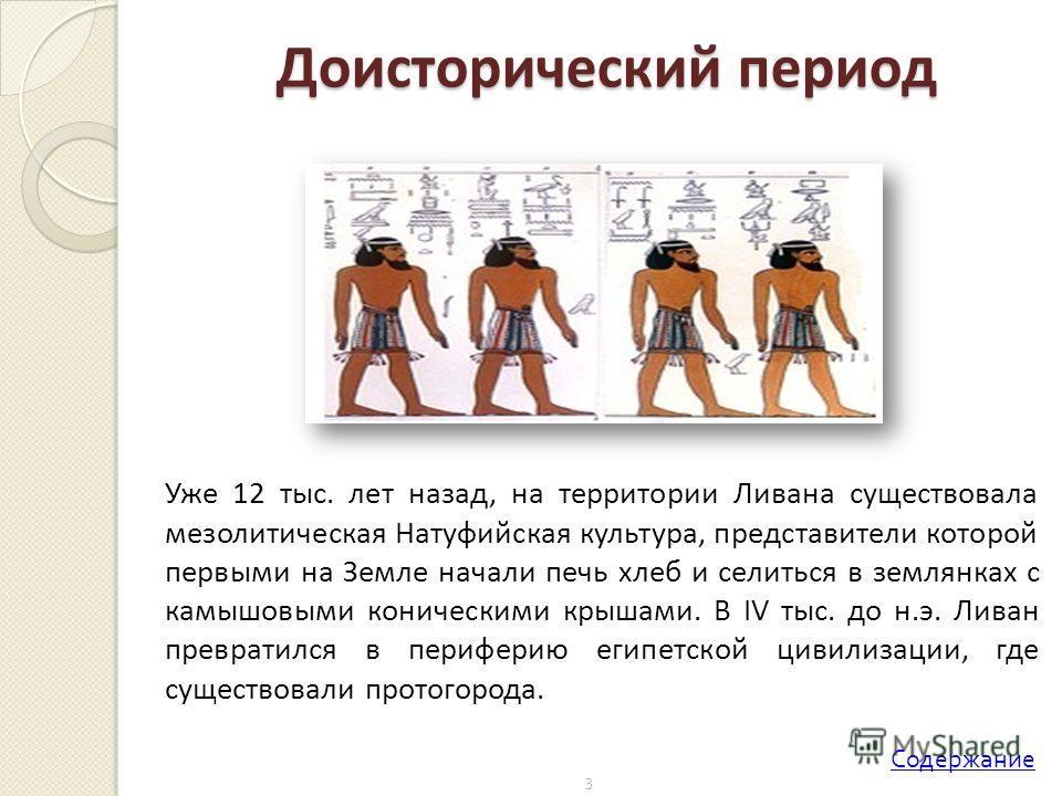 3 Уже 12 тыс. лет назад, на территории Ливана существовала мезолитическая Натуфийская культура, представители которой первыми на Земле начали печь хлеб и селиться в землянках с камышовыми коническими крышами. В IV тыс. до н.э. Ливан превратился в пер