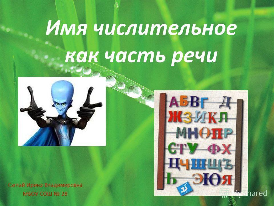 Имя числительное как часть речи Саглай Ирина Владимировна МБОУ СОШ 28