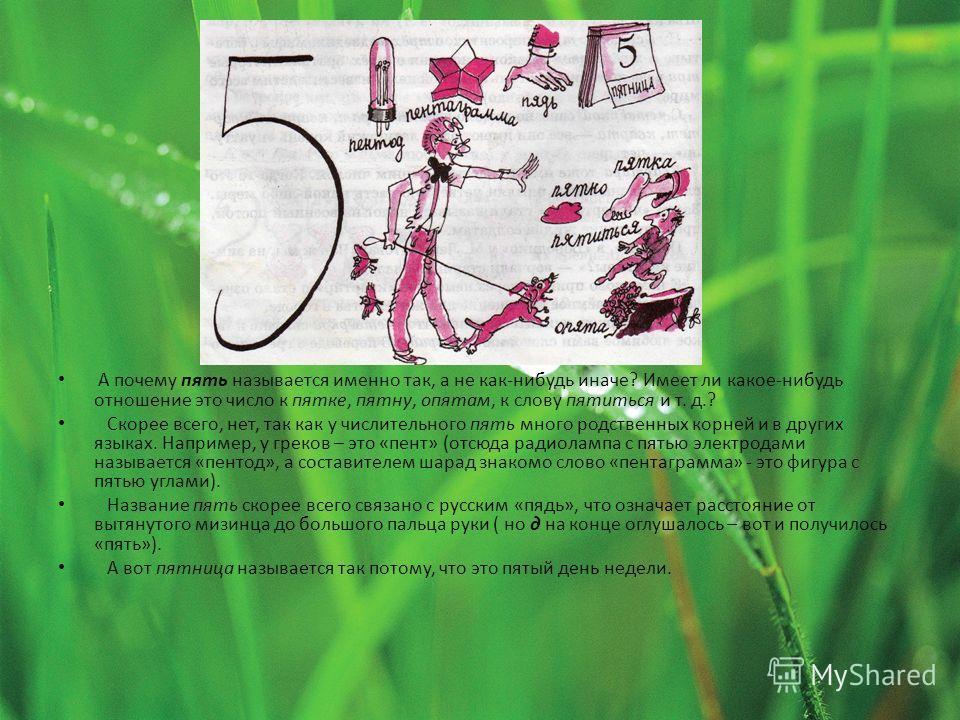 А почему пять называется именно так, а не как-нибудь иначе? Имеет ли какое-нибудь отношение это число к пятке, пятну, опятам, к слову пятиться и т. д.? Скорее всего, нет, так как у числительного пять много родственных корней и в других языках. Наприм