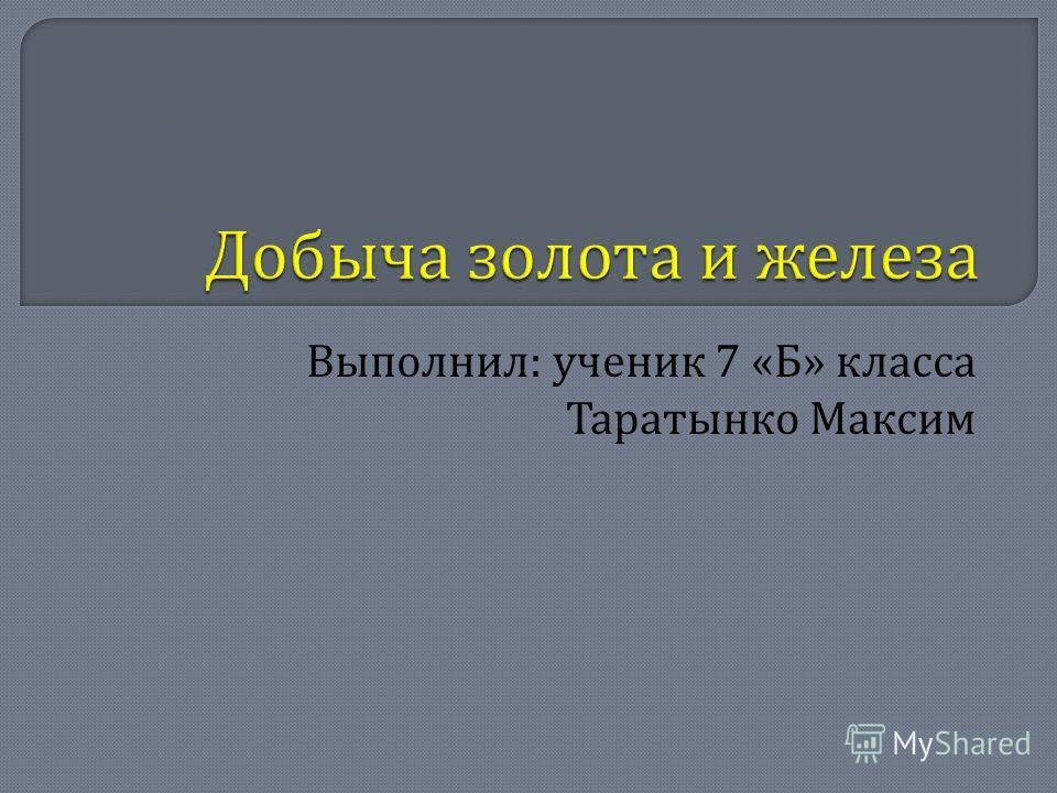 Выполнил : ученик 7 « Б » класса Таратынко Максим