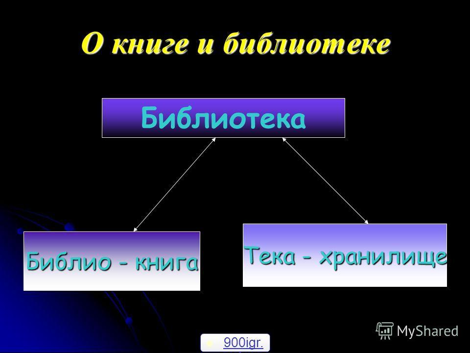 О книге и библиотеке Библиотека Библио - книга Тека - хранилище 900igr. net 900igr. net