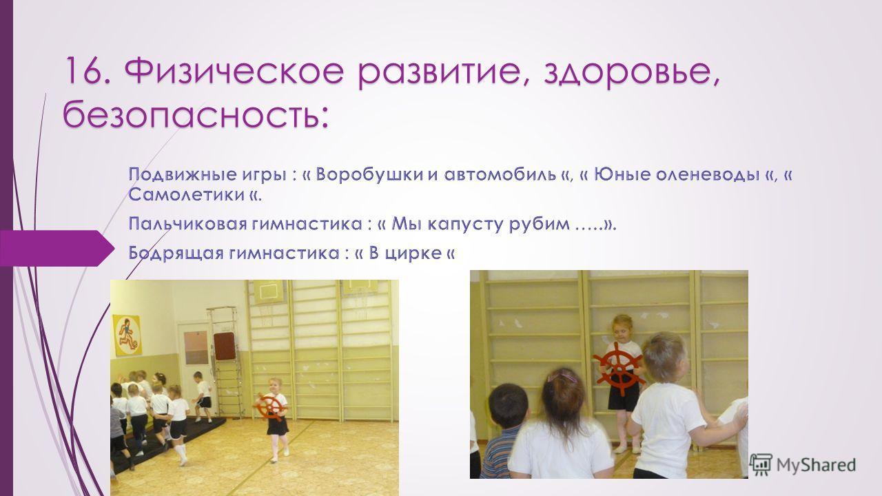 16. Физическое развитие, здоровье, безопасность: