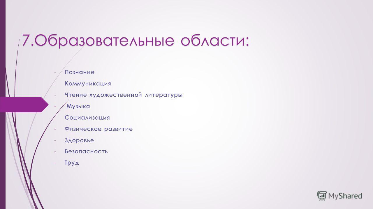 7. Образовательные области: