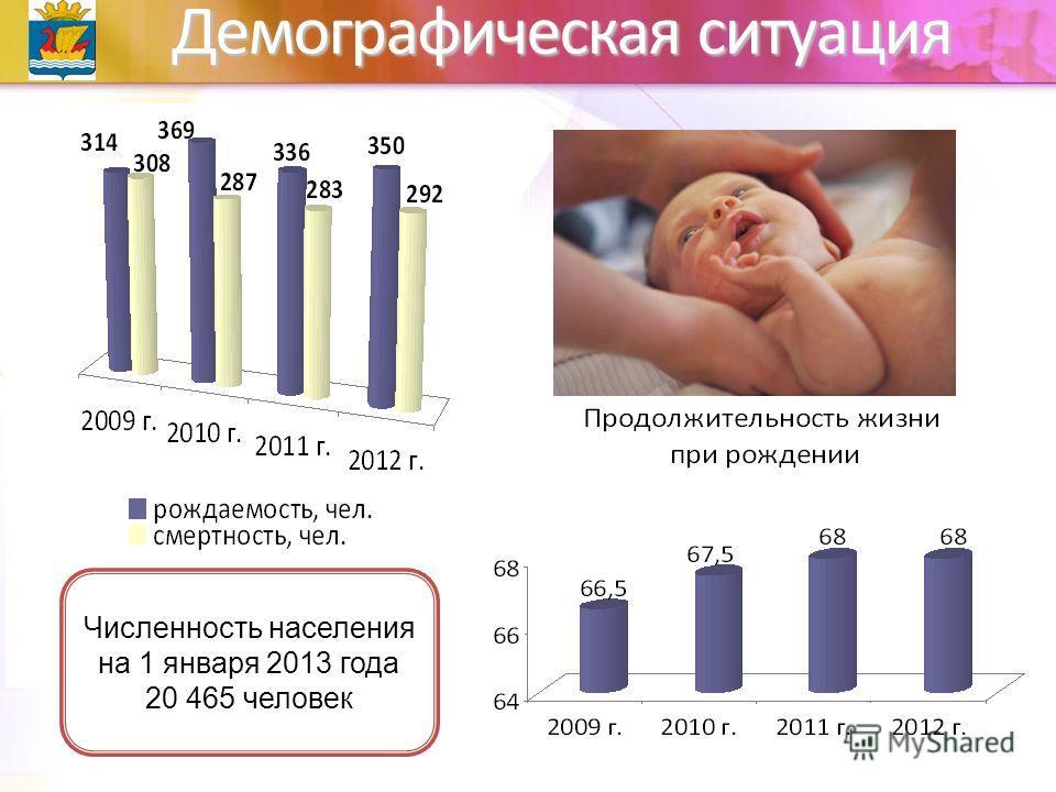 Демографическая ситуация Численность населения на 1 января 2013 года 20 465 человек