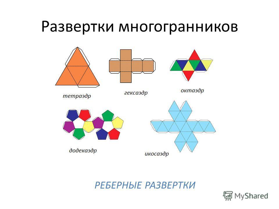 Развертки многогранников РЕБЕРНЫЕ РАЗВЕРТКИ