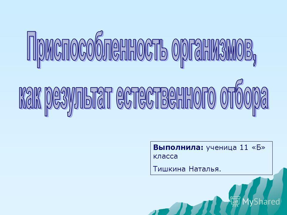 Выполнила: ученица 11 «Б» класса Тишкина Наталья.