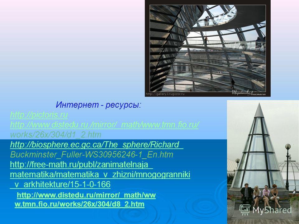 Интернет - ресурсы: http://pictoris.ru http://www.distedu.ru./mirror/_math/www.tmn.fio.ru/ works/26x/304/d1_2. htm http://biosphere.ec.gc.ca/The_sphere/Richard_ Buckminster_Fuller-WS30956246-1_En.htm http://free-math.ru/publ/zanimatelnaja_ matematika