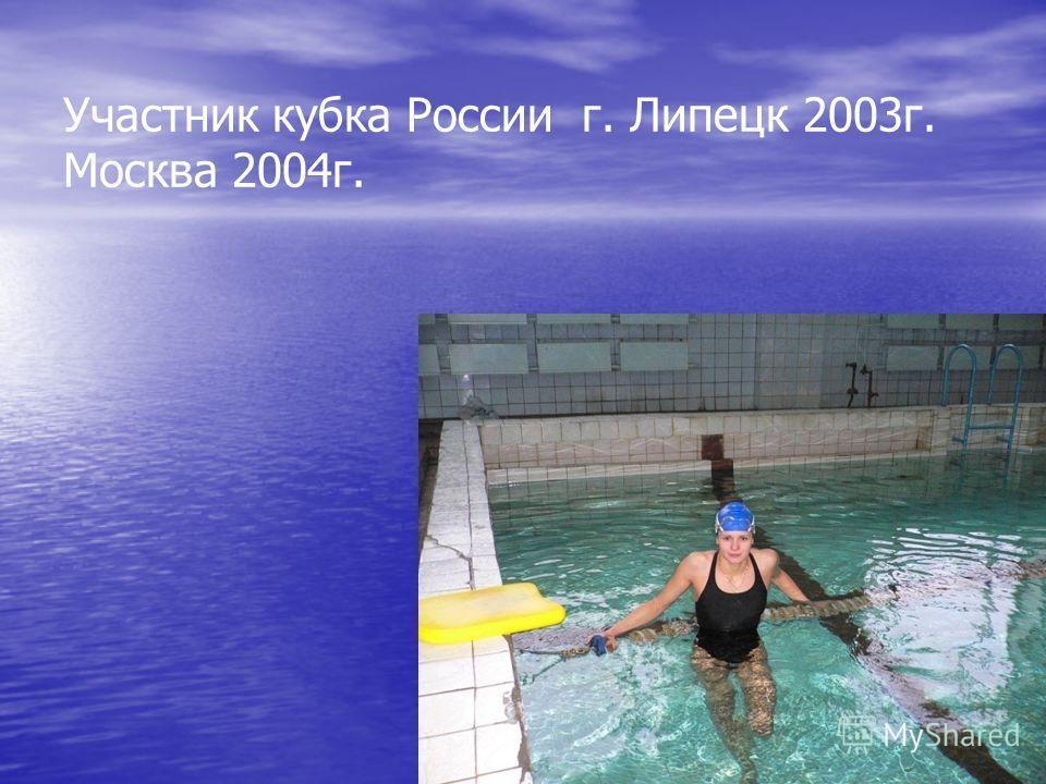 Участник кубка России г. Липецк 2003 г. Москва 2004 г.