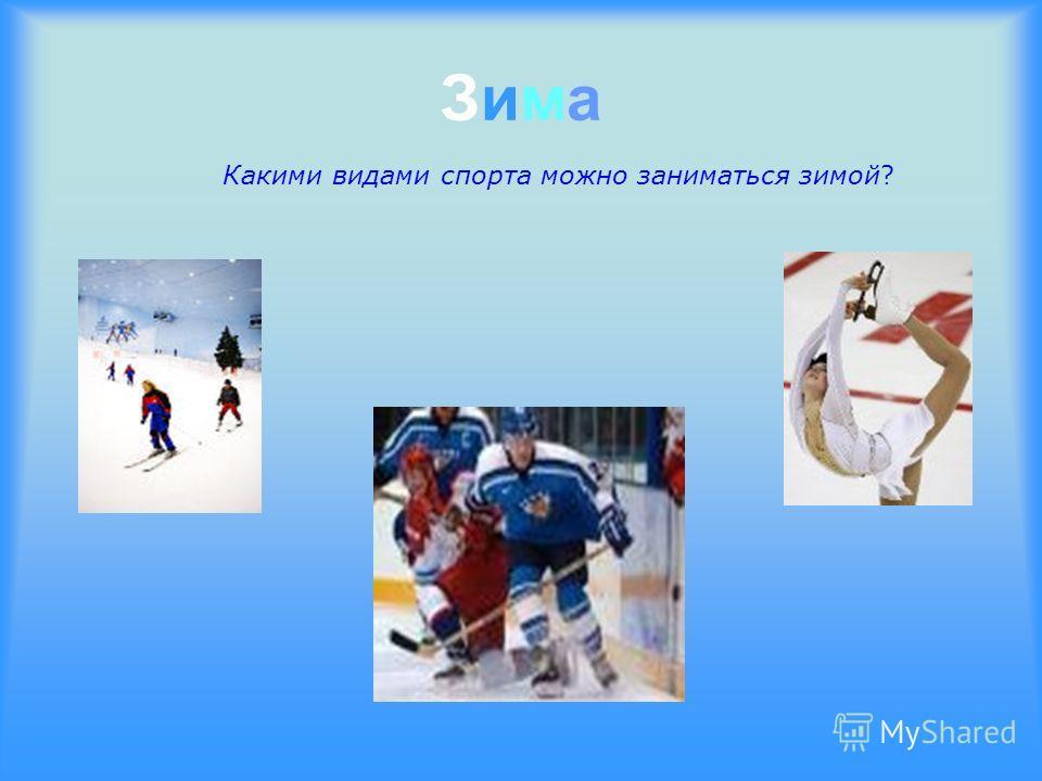 Зима Зима Какими видами спорта можно заниматься зимой?