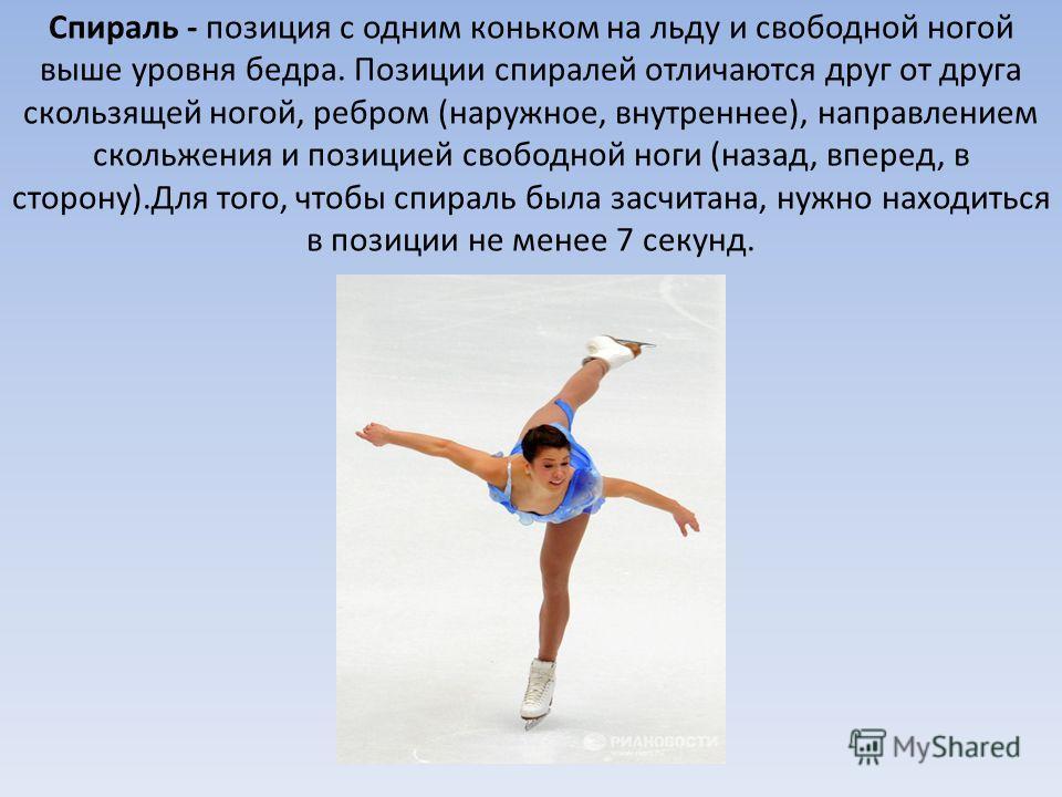 Спираль - позиция с одним коньком на льду и свободной ногой выше уровня бедра. Позиции спиралей отличаются друг от друга скользящей ногой, ребром (наружное, внутреннее), направлением скольжения и позицией свободной ноги (назад, вперед, в сторону).Для