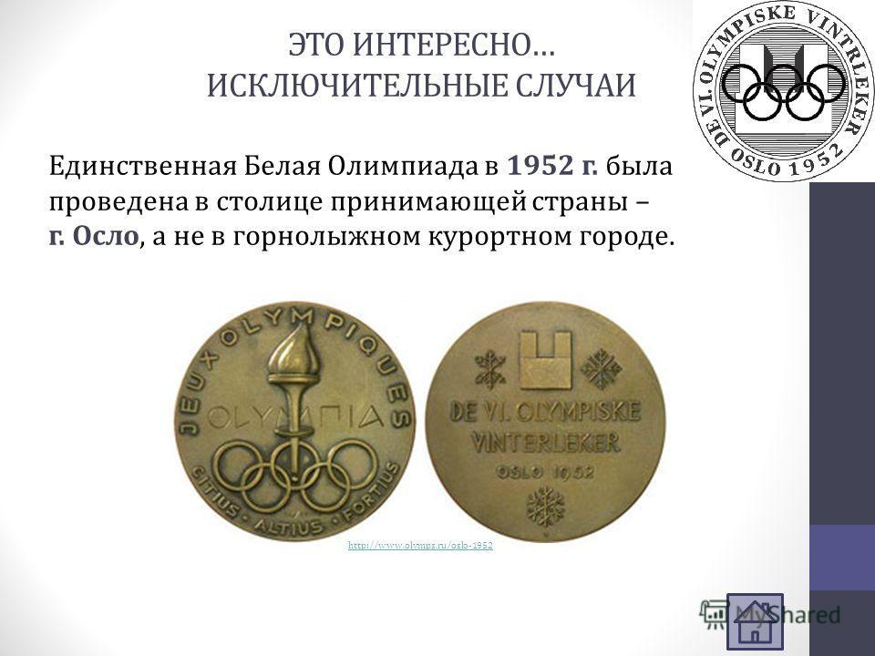 ЭТО ИНТЕРЕСНО… ИСКЛЮЧИТЕЛЬНЫЕ СЛУЧАИ Единственная Белая Олимпиада в 1952 г. была проведена в столице принимающей страны – г. Осло, а не в горнолыжном курортном городе. http://www.olymps.ru/oslo-1952