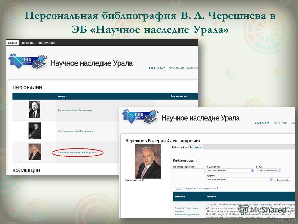 Персональная библиография В. А. Черешнева в ЭБ «Научное наследие Урала»