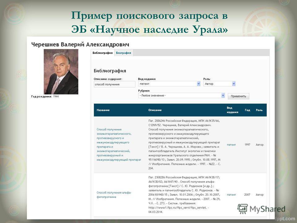 Пример поискового запроса в ЭБ «Научное наследие Урала»