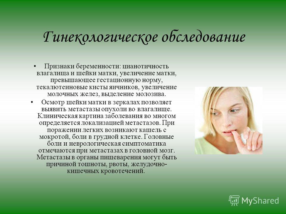 Гинекологическое обследование Признаки беременности: цианотичность влагалища и шейки матки, увеличение матки, превышающее гестационную норму, тека-лютеиновые кисты яичников, увеличение молочных желез, выделение молозива. Осмотр шейки матки в зеркалах