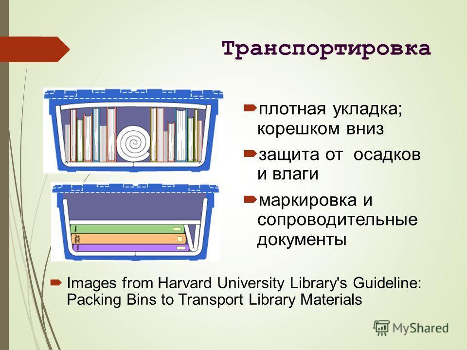 Транспортировка Images from Harvard University Library's Guideline: Packing Bins to Transport Library Materials плотная укладка; корешком вниз защита от осадков и влаги маркировка и сопроводительные документы