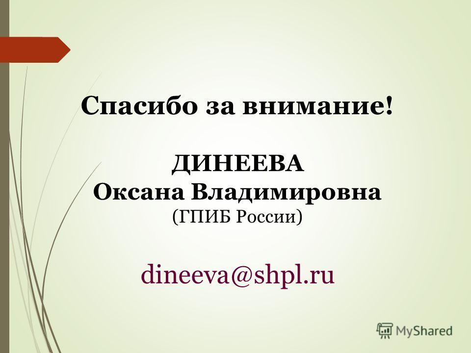 Спасибо за внимание! ДИНЕЕВА Оксана Владимировна (ГПИБ России) dineeva@shpl.ru
