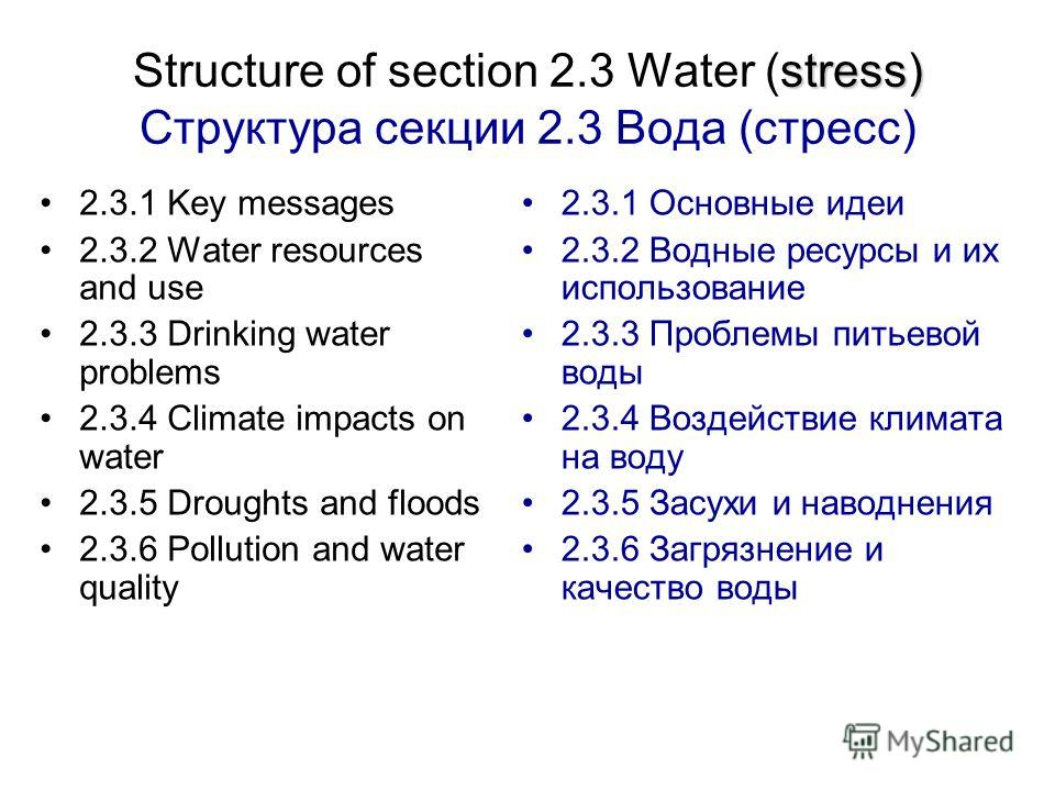 stress) Structure of section 2.3 Water (stress) Структура секции 2.3 Вода (стресс) 2.3.1 Key messages 2.3.2 Water resources and use 2.3.3 Drinking water problems 2.3.4 Climate impacts on water 2.3.5 Droughts and floods 2.3.6 Pollution and water quali