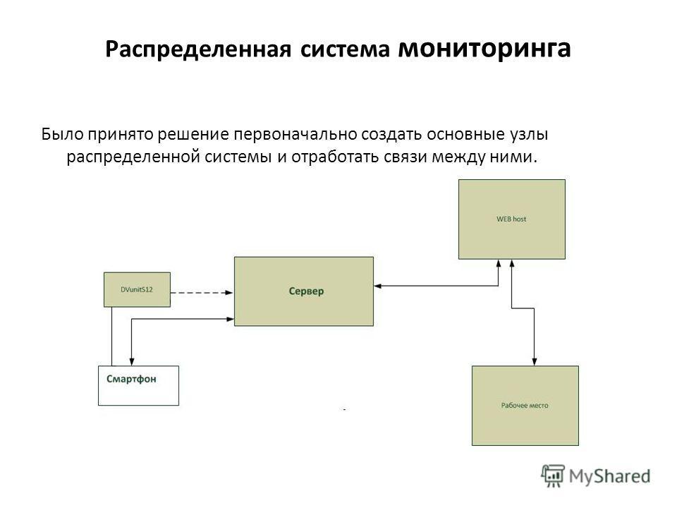 Распределенная система мониторинга Было принято решение первоначально создать основные узлы распределенной системы и отработать связи между ними.
