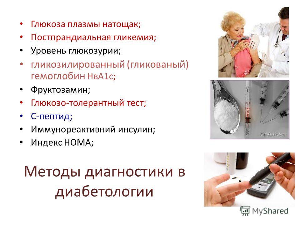 Методы диагностики в диабетологии Глюкоза плазмы натощак; Постпрандиальная гликемия; Уровень глюкозурии; гликозилированный (гликованый) гемоглобин НвА1 с; Фруктозамин; Глюкозо-толерантный тест; С-пептид; Иммунореактивний инсулин; Индекс НОМА;