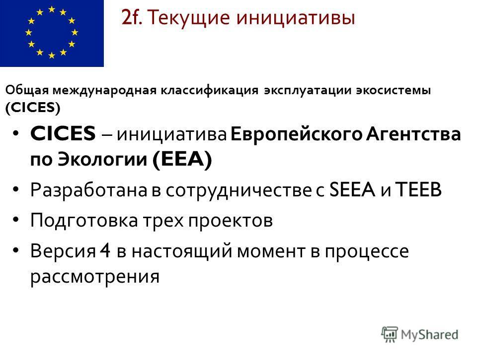 CICES – инициатива Европейского Агентства по Экологии (EEA) Разработана в сотрудничестве с SEEA и TEEB Подготовка трех проектов Версия 4 в настоящий момент в процессе рассмотрения 2f. Текущие инициативы Общая международная классификация эксплуатации