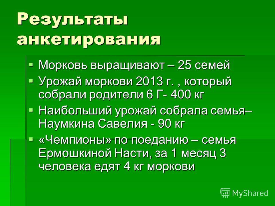 Результаты анкетирования Морковь выращивают – 25 семей Морковь выращивают – 25 семей Урожай моркови 2013 г., который собрали родители 6 Г- 400 кг Урожай моркови 2013 г., который собрали родители 6 Г- 400 кг Наибольший урожай собрала семья– Наумкина С