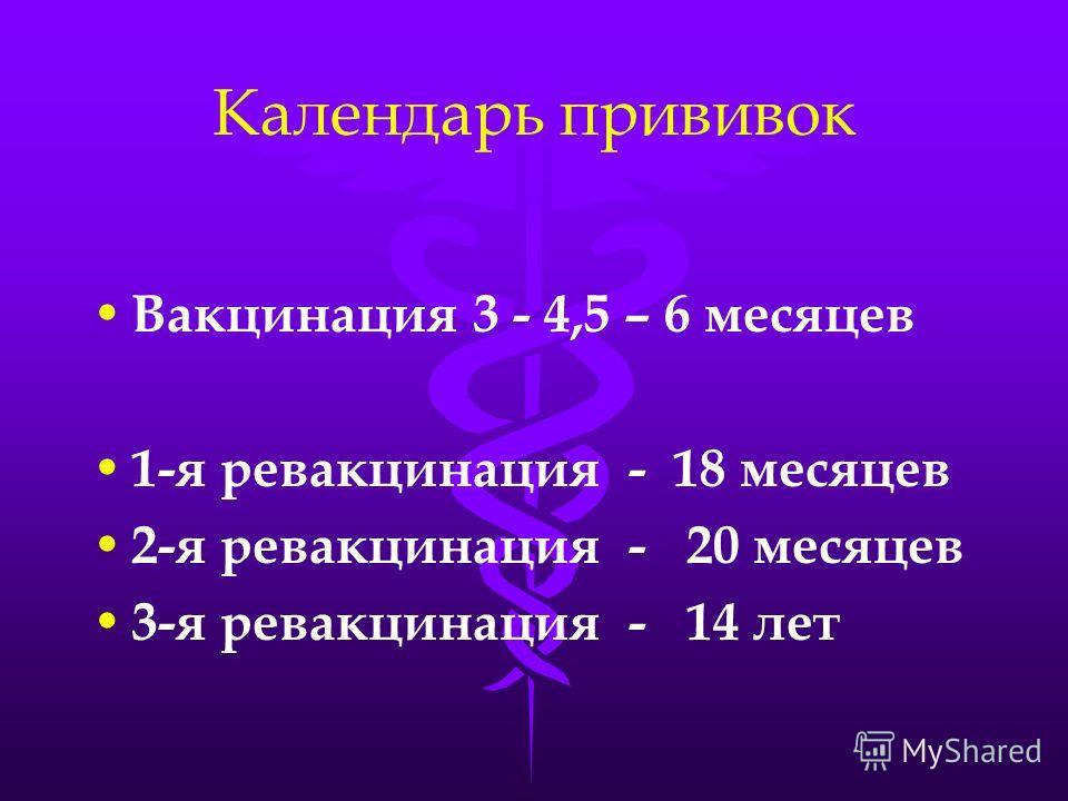 Календарь прививок Вакцинация 3 - 4,5 – 6 месяцев 1-я ревакцинация - 18 месяцев 2-я ревакцинация - 20 месяцев 3-я ревакцинация - 14 лет