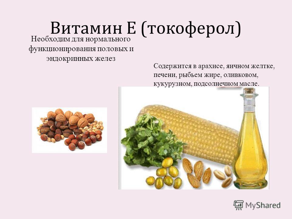 Витамин Е ( токоферол ) Содержится в арахисе, яичном желтке, печени, рыбьем жире, оливковом, кукурузном, подсолнечном масле. Необходим для нормального функционирования половых и эндокринных желез