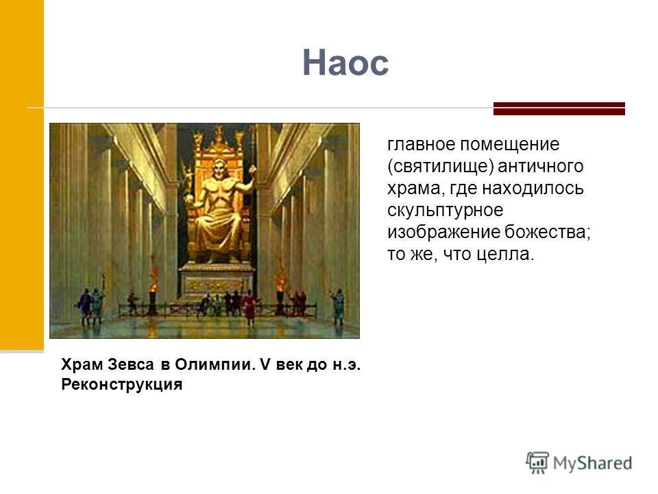 Наос главное помещение (святилище) античного храма, где находилось скульптурное изображение божества; то же, что целла. Храм Зевса в Олимпии. V век до н.э. Реконструкция