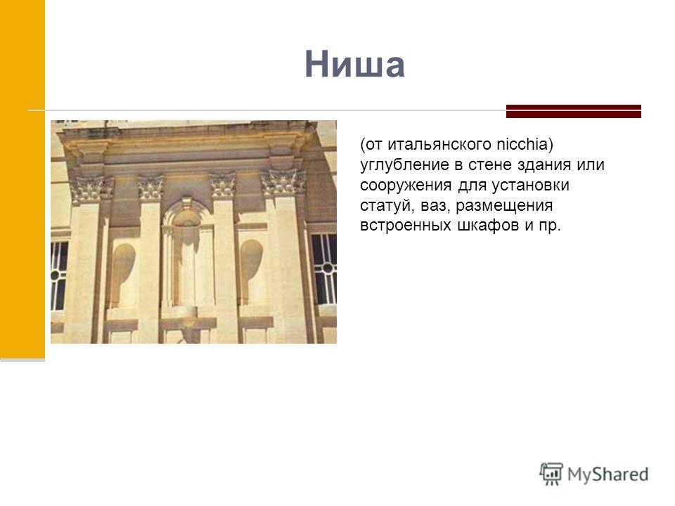 Ниша (от итальянского nicchia) углубление в стене здания или сооружения для установки статуй, ваз, размещения встроенных шкафов и пр.