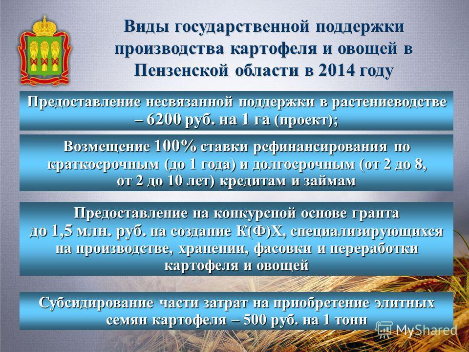 Виды государственной поддержки производства картофеля и овощей в Пензенской области в 2014 году Предоставление несвязанной поддержки в растениеводстве – 6200 руб. на 1 га (проект); Возмещение 100% ставки рефинансирования по краткосрочным (до 1 года)