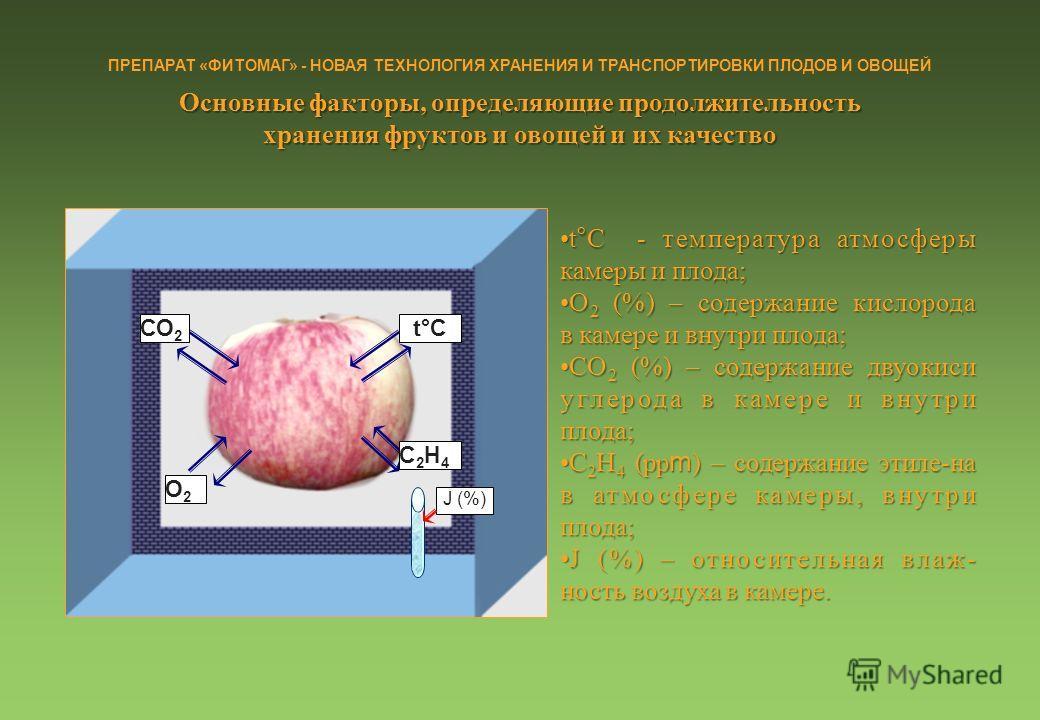 СО 2 О2О2 С2Н4С2Н4 t°C J (%) t°C - температура атмосферыt°C - температура атмосферы камеры и плода; О 2 (%) – содержание кислородаО 2 (%) – содержание кислорода в камере и внутри плода; СО 2 (%) – содержание двуокиси углерода в камере и внутриСО 2 (%