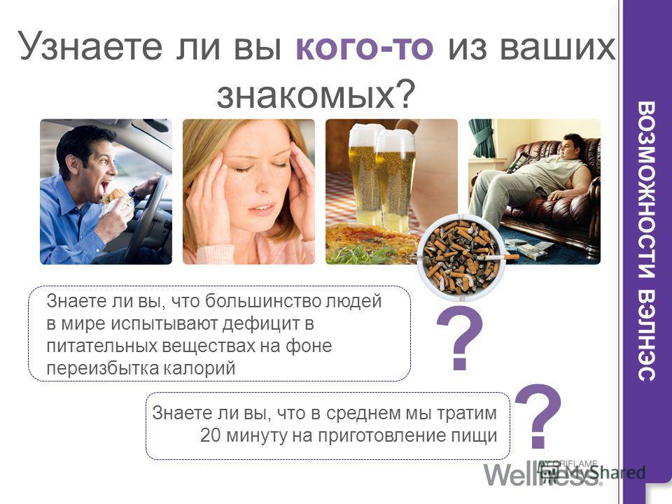 Узнаете ли вы кого-то из ваших знакомых? ВОЗМОЖНОСТИ ВЭЛНЭС Знаете ли вы, что большинство людей в мире испытывают дефицит в питательных веществах на фоне переизбытка калорий Знаете ли вы, что в среднем мы тратим 20 минуту на приготовление пищи ? ?