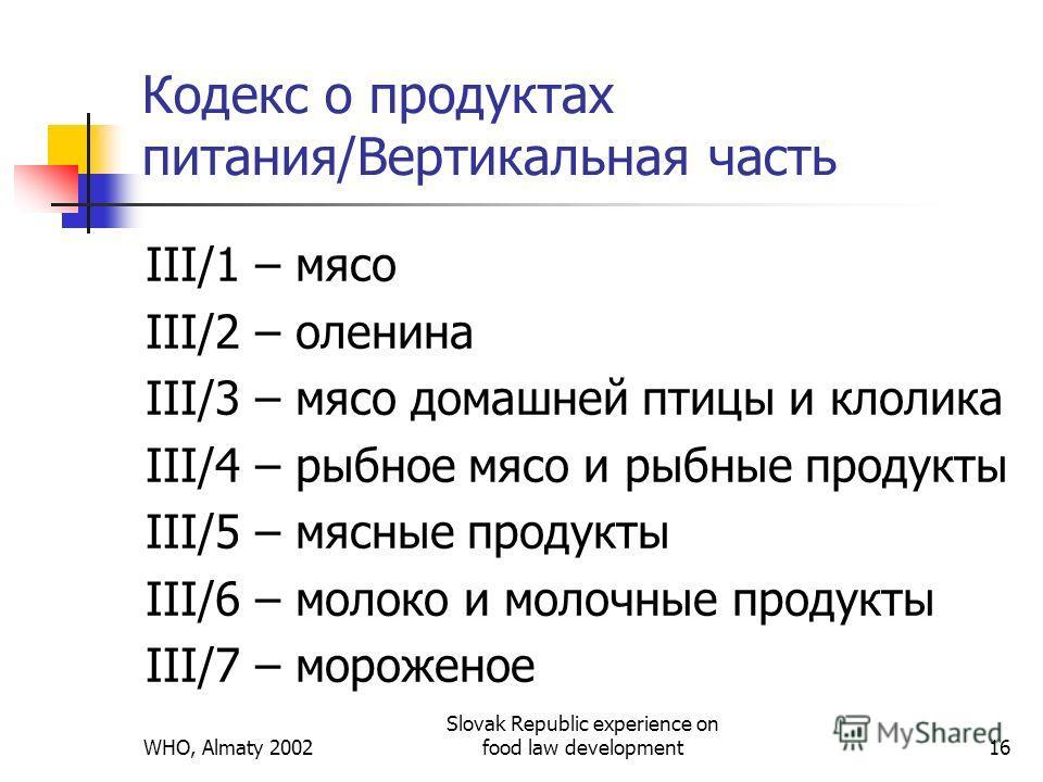 WHO, Almaty 2002 Slovak Republic experience on food law development16 Кодекс о продуктах питания/Вертикальная часть III/1 – мясо III/2 – оленина III/3 – мясо домашней птицы и кролика III/4 – рыбное мясо и рыбные продукты III/5 – мясные продукты III/6