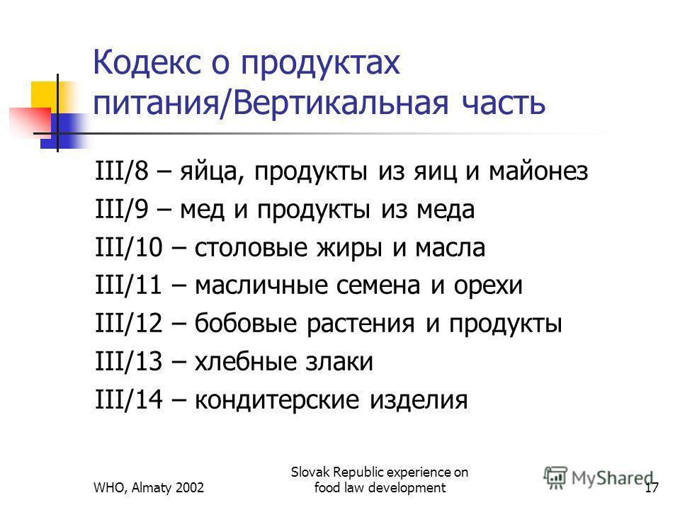 WHO, Almaty 2002 Slovak Republic experience on food law development17 Кодекс о продуктах питания/Вертикальная часть III/8 – яйца, продукты из яиц и майонез III/9 – мед и продукты из меда III/10 – столовые жиры и масла III/11 – масличные семена и орех